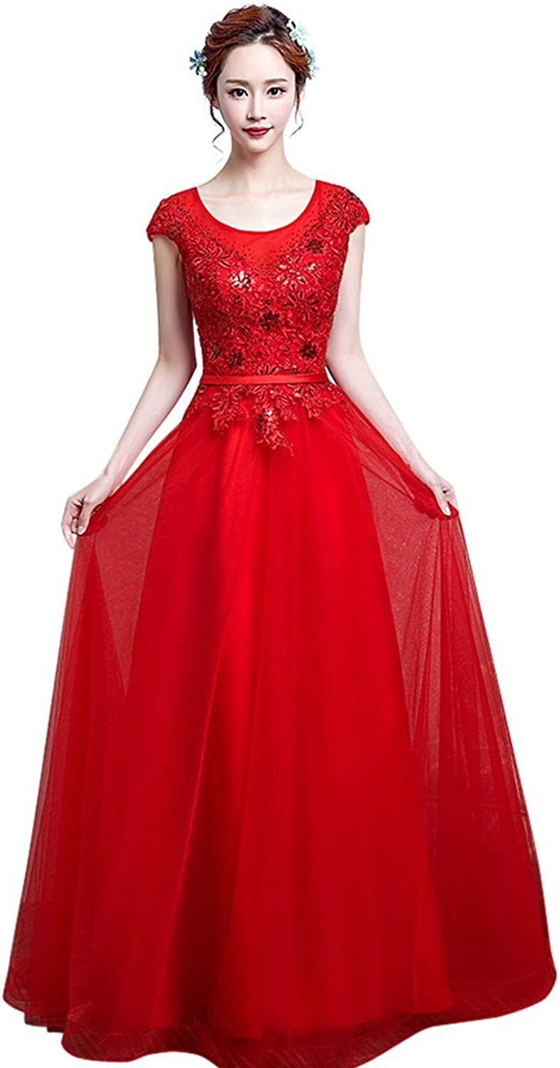 Drasawee Women's Long Beaded Sequins Tulle Wedding Bridesmaid Prom Party Dress