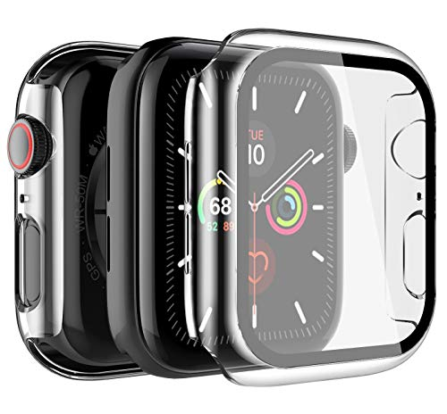 LK [2 Pack] Case for Apple Watch 40mm Series 5/4 Built-in Tempered Glass Screen Protector, Hard PC Protector Cover for iWatch 40mm (Clear)