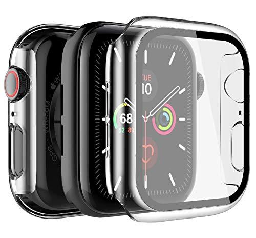 LK Panzerglas für Apple Watch Series 6/SE/5/4 40mm, [Modellnummer:LK-X-106] 2 Stück Schutzhülle, Vollschutz, Blasenfreie, Gegen Kratzer, Transparent Panzerglasfolie-Hülle für Apple Watch 6/SE/5/4 40mm