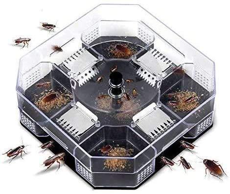 zyh Atrapador de Insectos de plagas eficaz y ecológico para Interiores,Trampa para cucarachas Reutilizable,Caja para Asesinos de cucarachas con 3 Piezas de Cebo en Polvo