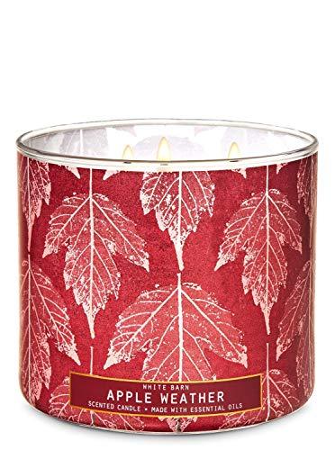 2020 White Barn Bath Apple Weather 3 Wick Candle (Fresh Apples, Lavender Leaves, Cinnamon Bark) W Burn Time of 25-45 Hours