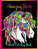 Amazing Horse Adult Coloring Book: Black Background | Stress...