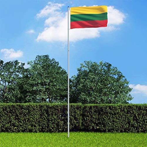 UnfadeMemory Bandera para Jardín o en Eventos Deportivos (Lituania, con Asta de Telescópica 6m)