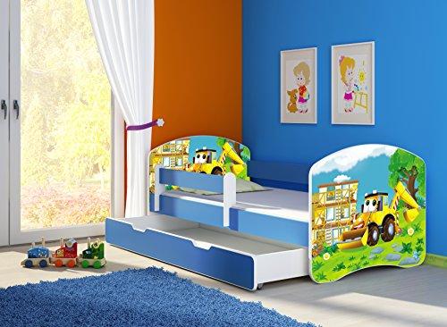 Clamaro 'Fantasia Blau' 180 x 80 Kinderbett Set inkl. Matratze, Lattenrost und mit Bettkasten Schublade, mit verstellbarem Rausfallschutz und Kantenschutzleisten, Design: 20 Bagger