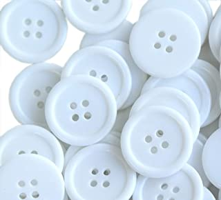 g436644 1 White Buttons Round Buttons 28mm Buttons 2 hole buttons