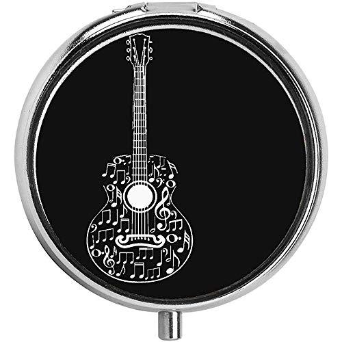 Muziekinstrumenten Gitaar in zwart Custom Pill Box/case - 3 -Compartiment Pill Box/Pill case