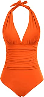 QPQ Womens One Piece Tummy Control Deep-V Halter Neck Swimsuits Backless Bathing Suits