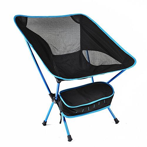 TJW Silla de Camping Plegable, Silla Plegable del Aleación de Aluminio con Bolsa Soporta hasta 150 KG para Pesca, Playa, Barbacoa, Picnic y Actividades al Aire Libre (Azul)