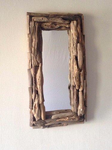 Miroir rectangulaire en bois flotté, fait main, style shabby chic rustique, suspension murale Commerce équitable.
