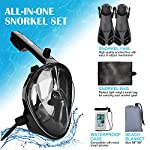 Odoland Snorkel Set -180° Panoramic View Full Face Anti-Fog Anti-Leak Diving Mask Kit - Compatible with GoPro Mount Silicone Diving Swim Fins Beach Mat Waterproof Phone Case in Portable Mesh Bag