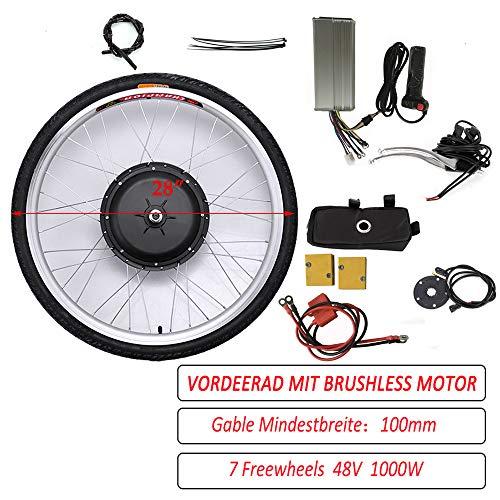 26'/ 28' 36V/ 48V 250W/ 1000W Kit di Conversione del Motore della Bici Elettrica della Ruota Anteriore Mozzo della Ruota della Bici Elettrica Anteriore Mozzo della Bici Anteriore (48V 1000W, 26')
