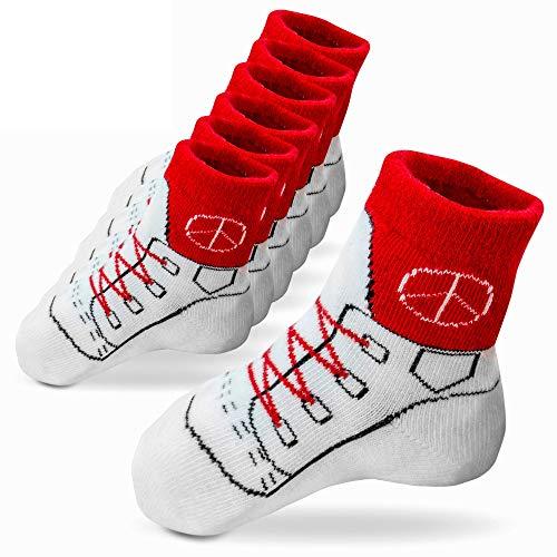 Pihu Stoppersocken ROT (6 Paar) Anti Rutsch Socken für Babys und Kinder von 12-24 Monaten mit Noppen im Sneakerlook