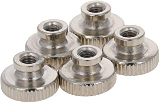 MroMax Knurled Thumb Nuts M8 Through Hole Round Knobs with Whitewash 304 Stainless Steel Straight Flower Silver Tone 8pcs
