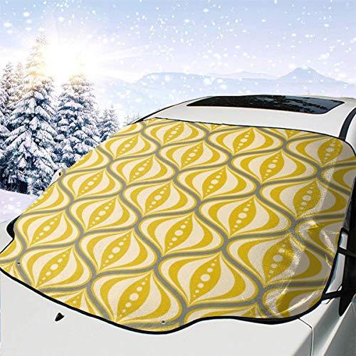 Lilyo-ltd Auto-Windschutzscheibenschutz für die meisten Autos, SUV, LKW, Retro-Untertasse, Gelb/Grau/Creme