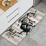 Alfombra de cocina, burro dibujado a mano con imagen de tinta, impermeable, antideslizante, suave, lavable, alfombrilla de cocina, alfombrillas de piso confort, alfombras para baño, cocina, sala de es