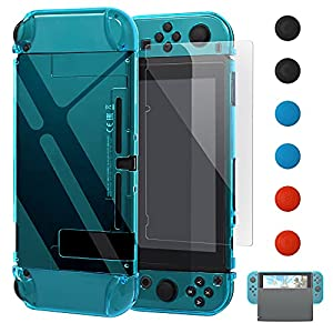 Dockable Case for Nintendo Switch [Updated],FYOUNG Protective Accessories Cover Case for Nintendo Switch and for Nintendo Switch JoyCons Controller with a Tempered Glass Screen Protector - Clear Blue