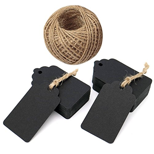 Black Tags,100 Pcs 7 * 4 cm Gift Tags, Kraft Paper Tags, Craft Hang Tags with Jute Twine 30 Meters Long