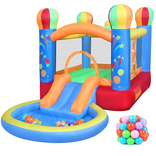 RETRO JUMP Inflatable Bounce House, Bouncy Castle with Ball Pit & Basketball Hoop, Kids Inflatable...