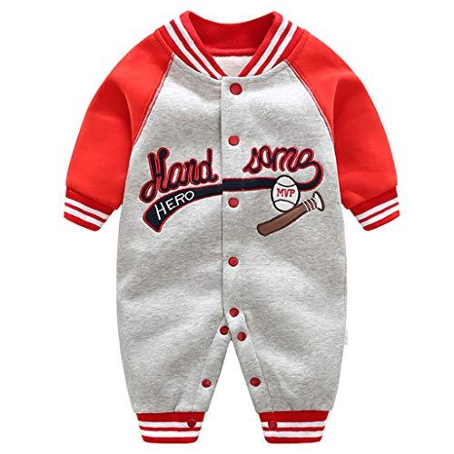 Baby Overalls Baumwolle Strampler Spielanzug Jungen Mädchen Baseball Winterjacke Outfits 0-3 Monate