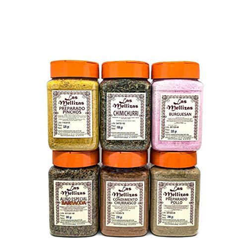 Las Mellizas Pack Barbacoa | 6 unidades | Condimento especial barbacoa – Pinchitos – Churrasco – Chimichurri – Burguesan – Condimento para pollo