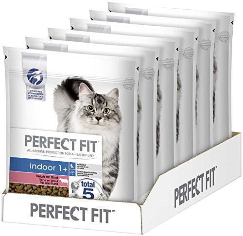 Perfect Fit Indoor 1+ – Trockenfutter für erwachsene Hauskatzen ab 1 Jahr – Reich an Rind – Unterstützt die Vitalität – 6 x 750 g