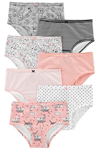 Carter's Girl's 7-Pack Weekday Stretch Cotton Panties, Dogs/Cats/Unicorn, 6-6X
