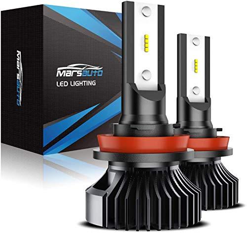 Marsauto G2 Series H11 H16 Led Fog Light Bulbs, H8 H9 Led Fog Lights Replacement for Cars,12 Csp Led Chips 6000K Xenon White, Pack of 2