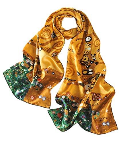 prettystern Damen 170cm Handrolliert golden Kunstdrucke Seidenschal - Gustav Klimt - Der Lebensbaum P1988