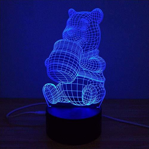 Illusion 3D Lumière, Winnie L'Ourson Coloré 3D Chevet Dormir Acrylique Led Nuit Lumière Tactile Commutateurs Tridimensionnel Veilleuse Humeur Lampe