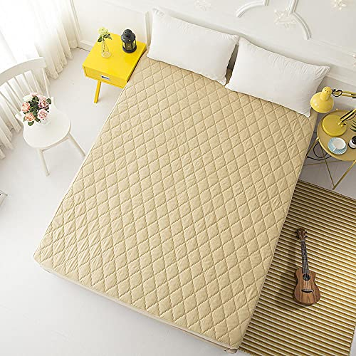 CYYyang Funda colchón Microfibra, elástica y Ajustable, Sábana Impermeable de Color Puro orina-Camel_180 * 220cm