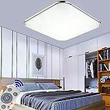 36W Plafon led de techo Regulable 2880LM Plafon LED Techo Cuadrad Iluminación interior para Dormitorio Comedor Cocina Balcón Marco de Aluminio Plateado (Regulable 3000K-6500K)