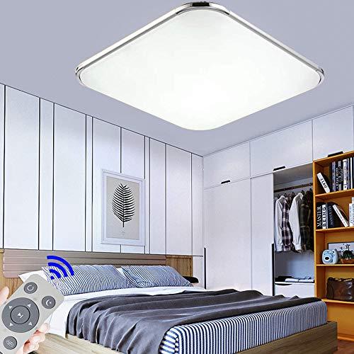 36W Plafon led de techo Regulable 2880LM Plafon LED Techo Cuadrad Iluminación interior para Dormitorio Comedor Cocina Balcón Marco de Aluminio Plateado