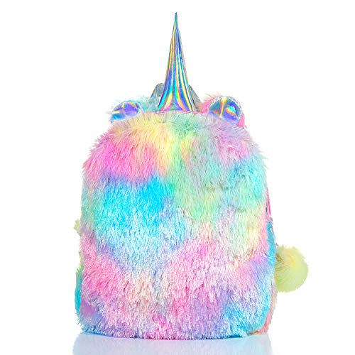 Fluffy Unicorn Backpack,WolinTek Cute Plush Unicorn Backpack,Fluffy Mini Unicorn Backpack Bags for Girls Kids Travel Plush Rainbow Schoolbag