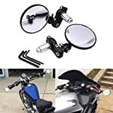 TUINCYN Universal 7/8 pulgadas Mango de motocicleta Espejos de extremo Vista trasera plegable Vista lateral Manillar Espejos de moto redondos (paquete de 2)