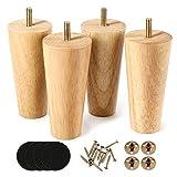 Lot de 4 pieds de canapé en bois finition noyer 15,2 cm pour fauteuil, table de nuit, armoire, tiroir (Couleur du bois)