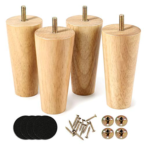 One Sight 5 inch Solid Wood Furniture Legs Dresser Legs Sofa Replacement Legs, Mid Century Sofa Legs for Couch, Bed, Armchair,Cabinet, Set of 4