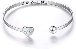 925 Sterling Silver Adjustable Open Cuff Heart Bangle Bracelet for Women Girls Inspirational Gift