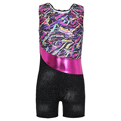 DAXIANG Enfant Fille sans Manches Vêtements de Gymnastique Justaucorps (Multicolore Rubans, 150(10-11Ans))