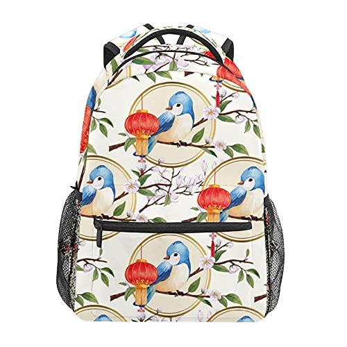 Lanterna Blu Uccello Bianco Floreale Zainetto Scuola College Viaggi Escursionismo Moda Laptop Zaino per Donne Uomini Teen Casual Borse di Tela