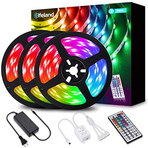 Elfeland LED Strip Lights 39.3FT/12M 5050 RGB Light Strips Color Changing Rope Lights Flexible Tape Light Kit with 44 Keys Remote Controller & 12V 5A Power Supply