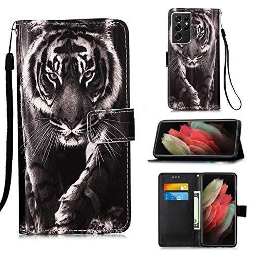 Hülle für Samsung Galaxy S21 Ultra / S30 Ultra Handyhülle Gemalt PU Leder Hülle Handy Tasche Flip Wallet Hülle Cover mit Ständer Kartenfach & Magnet Schutzhülle, Großer Tiger