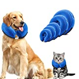 Dog cones, Inflatable Dog Collar for Pet Surgery, Recovery Cone Collar Prevent Dogs & Cats from Biting & Scratching, Adjustable E-Collar with 5 Size Fit for Most Dogs & Cats(CHECK THE SIZE) (XS, Blue)