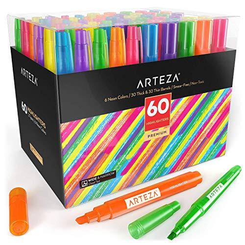 Arteza Textmarker Set, Vorteilspack mit 60 Leuchtstiften, Großpackung Highlighters mit dünnen und breiten Schrägkeilspitzen, Leuchtmarker in 6 Neonfarben