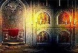 Telón de Fondo del Tema Steampunk Fotografía de Vinilo Fondo Palacio gótico Interior Shabby Antiguo Muro Trono Mural Buring Candelabros Reliquias culturales Turismo Niño Bebé Adulto Retrato-10x6.5FT