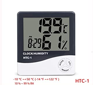 LCD Digital Alarm Clock Temperature Hygrometer HTC-1 HTC-2 Indoor And Outdoor Hygrometer Thermometer Memory Weather Station (Size : HTC-1)