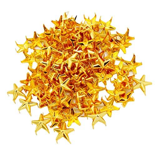 freneci Tachuelas de Remache de Metal con Estrella Dorada de 100 Piezas para Chaqueta, Ropa, Accesorios de Artesanía en Cuero