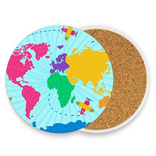 Posavasos de cerámica para bebidas absorbentes – Colorido mapa del mundo Posavasos de corcho regalos de inauguración de la casa Posavasos divertidos para comedor Bar decoraciones