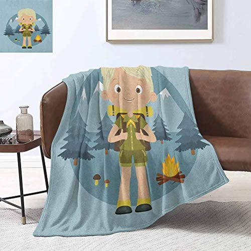 RenteriaDecor Explore Blanket Ladder Cartoon Boy Scout in The Forest with Mountains Trees Mushroom and Campfire Design 40x50 Inch Fleece Blankets for Couch Bed Sofa
