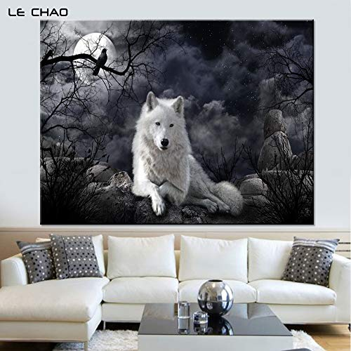 Night wolf canvas wall artposter anddecorative pictures for living room home decor60x80cmFrameless painting