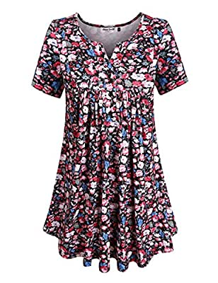 Anna Smith Women's Short Sleeve Split V Neck Floral Printed Pleated Tunic Tops